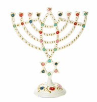White Candle Menorah Featuring Colorful Dots and Gold Glitter Design with Star of David