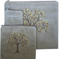 Tallis and Tefillin Bag Set Velvet Off White Tree of Life Design