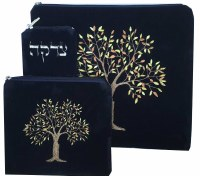 Tallis and Tefillin Bag Set Tree of Life Design Navy with Tzedakah Pouch