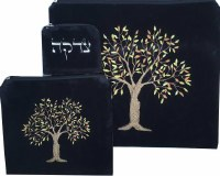 Tallis and Tefillin Bag Set Tree of Life Black Design