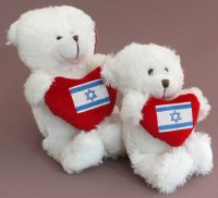 White Teddy Bear with Israel Flag on Red Heart