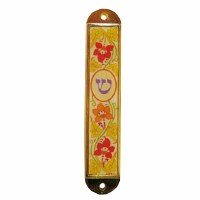 Car Mezuzah Flowers Beige 2""