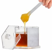 Honey Dish Lucite and Marble Hexagon Shape with Spoon