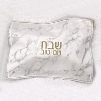 Faux Leather Challah Cover Marble Design Gold Print