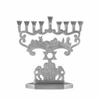 Candle Menorah Aluminum Judean Lions Design