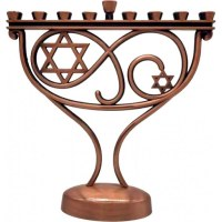 Whimsical Candle Menorah with Copper Finish