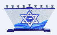 Candle Menorah Hand Crafted Blue and White Star of David Design