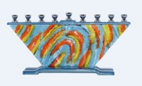 Candle Menorah Hand Crafted Colorful Winds Design