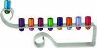 Yair Emanuel Chanukah Candle Menorah Curl Anodized Aluminum Multicolor