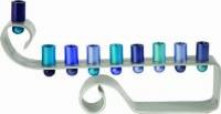 Yair Emanuel Hanukkah Candle Menorah Curl Anodized Aluminum Blue