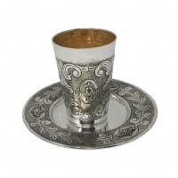 Kiddush Cup with Matching Saucer Silver Dipped Moreshet Series Elegant Design