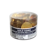 70 Pieces Belgian Milk Chocolate Gold Coins Nut Free in Tub Cholov Yisroel