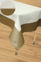 "Vinyl Tablecloth Textured Ivory Base Bordered with Coppery Pattern 65"" x 90"""