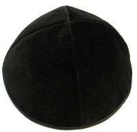 Black Velvet Kippah 4 Part with Rim Size 10