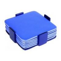 Yair Emanuel Judaica Set of 6 Aluminum Coasters Blue