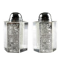 Crystal Salt and Pepper Shaker Set Silver Colored Laser Cut Metal Plaque Swirl Design