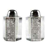 Crystal Salt and Pepper Shaker Set Silver Colored Laser Cut Metal Plaque Swirl Design