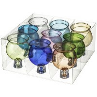 "Round Glass Oil Cups Assorted Colors 9 Pack 2.125"" H"