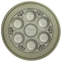"Glass Seder Plate Decorative Round Off White 13"""