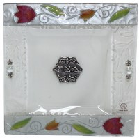Square Matzah Tray Glass Pink and Orange Tulip Design