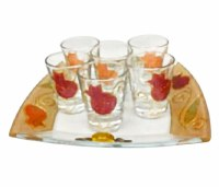 Lily Art Glass Shot Glasses Pomegranate Design Set of 6 with Matching Tray