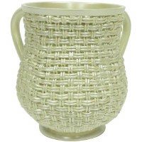 Wash Cup Polyresin White Weave