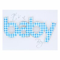 Card Baby Boy Gingham Baby Design