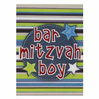 Card Bar Mitzvah Stripe and Star Design