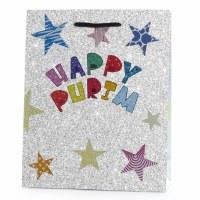 Luxury Holographic Purim Paper Bag Stars Design Medium Size