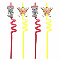Pesach Straws Yellow & Red Matzah and Wine Designs 4 Pack