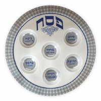 Disposable Melamine Seder Plate White Blue and Grey
