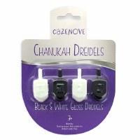 Dreidels Black and White Gloss 4 Pack