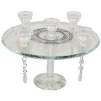 Five Branch Crystal Candelabra on Flat Pane