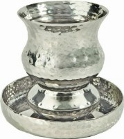 Yair Emanuel Judaica Nickel Kiddush Cup - Goblet Hammer Work
