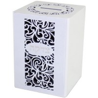 Tzedakah Box White Wood with Black Swirl Design #51498