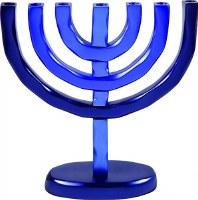 Yair Emanuel Anodized Aluminum 7 Branches Menorah Blue