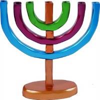 Yair Emanuel Anodized Aluminum 7 Branches Menorah Multicolor