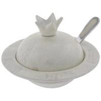 Large Elegant Aluminum Pomegranate Honey Dish with White Enamel Coating