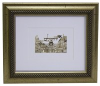 "Golden Framed Gold Art Im Eshkachech Jerusalem Design 12"" x 14"""
