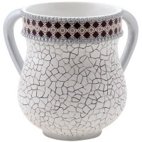 Polyresin White Washing Cup with Abstract Cracked Design and Colored Rim