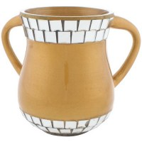 Gold Enamel Washing Cup with Mirror Tiles