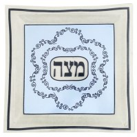 Glass Matzah Tray Light Blue