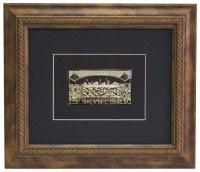 """Brown Framed Gold Art Im Eshkachech Jerusalem Kosel Design 12"""" x 14"""""""