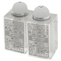 Crystal Salt and Pepper Shaker Set Silver Colored Laser Cut Metal Plaque Jerusalem Motif Square
