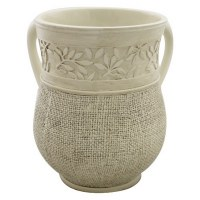 Polyresin Beige Washing Cup with Intricate Leaf Design