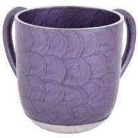 Wash Cup Aluminum Purple Swirl Painted Design