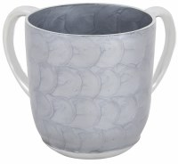 Wash Cup Aluminum Gray Swirl Painted Design