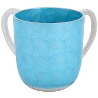 Wash Cup Aluminum Light Blue Swirl Painted Design