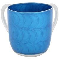 Wash Cup Aluminum Blue Swirl Painted Design