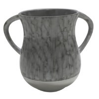 Aluminum Washing Cup Grey and Silver Marble Design